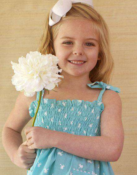 Baby,Kids - Girl's Dannie Dress In Turquoise Palm Trees By Kayce Hughes - FINAL SALE