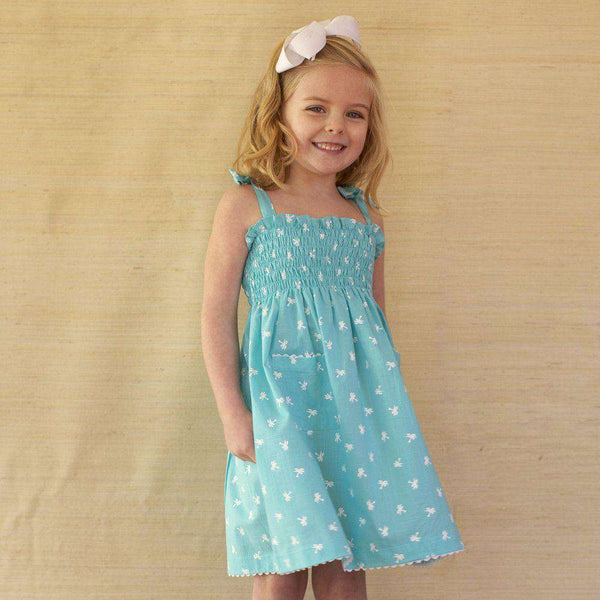 Girl's Dannie Dress in Turquoise Palm Trees by Kayce Hughes - FINAL SALE