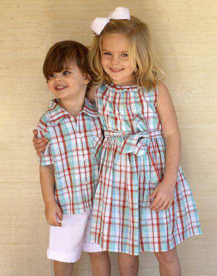 Baby,Kids - Girl's Ruffle Lyndal Dress In Round Hill Plaid By Kayce Hughes - FINAL SALE