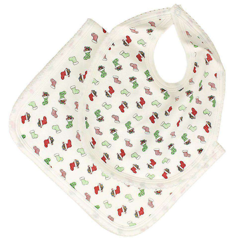 Baby,Kids - Pima Bib And Burp Set In Christmas Stockings Print By Bella Bliss
