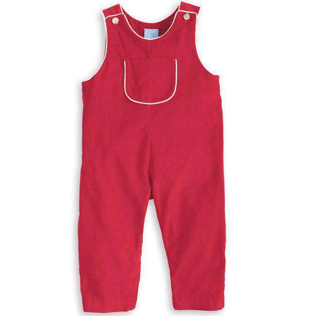 Baby,Kids - Piped Overall In Red With White By Bella Bliss