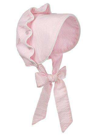 Baby,Kids - Seersucker Bonnet In Pink By The Beaufort Bonnet Company