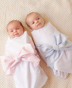Sweet Bow Swaddle Blanket in Buckhead Blue Chambray by The Beaufort Bonnet Company