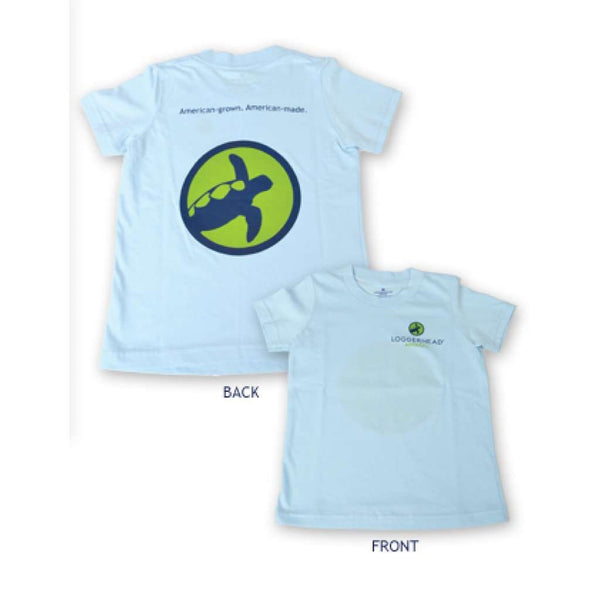 Youth Circle Logo Tee in Sky Blue by Loggerhead Apparel - FINAL SALE