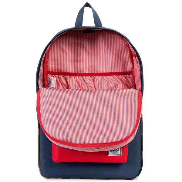 Heritage Backpack in Navy, Red and Woodland Camo by Herschel Supply Co.