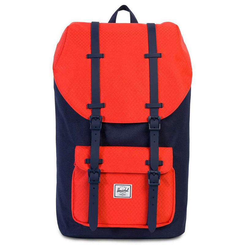 Little America Backpack in Peacoat and Hot Coral by Herschel Supply Co. - FINAL SALE