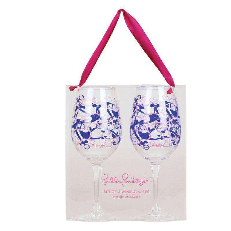 Bar & Glassware - Acrylic Wine Glasses In Booze Cruise By Lilly Pulitzer