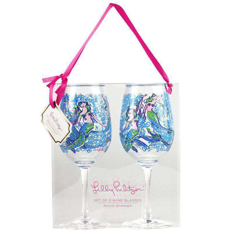 Bar & Glassware - Acrylic Wine Glasses In Nice Tail By Lilly Pulitzer