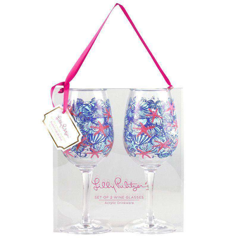 Bar & Glassware - Acrylic Wine Glasses In She She Shells By Lilly Pulitzer