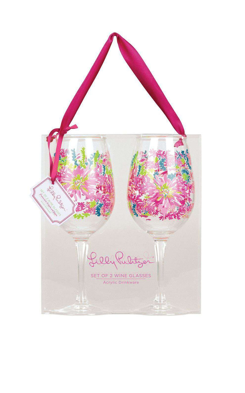 Bar & Glassware - Acrylic Wine Glasses In Trippin' And Sippin' By Lilly Pulitzer