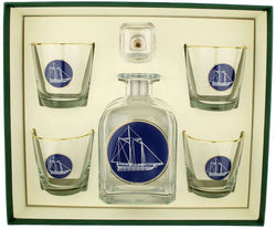 Bar & Glassware - America's Cup Decanter Set With Old Fashioned Glasses By Richard E. Bishop