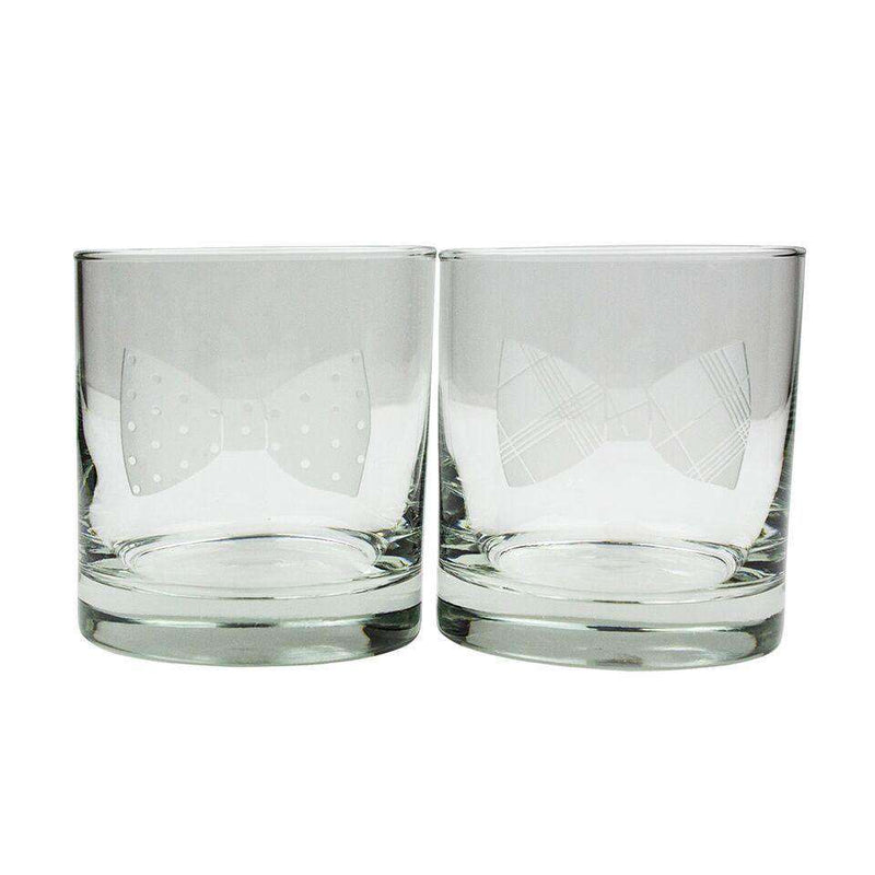 Bar & Glassware - Bow Ties 11 Oz Rocks Glasses - Set Of 4 - By Country Club Prep