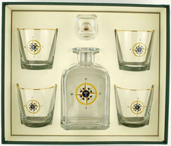 Bar & Glassware - Compass Rose Decanter Set With Old Fashioned Glasses By Richard E. Bishop