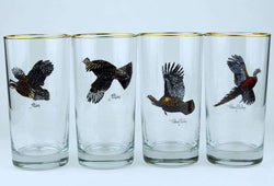 Bar & Glassware - Game Birds High Ball Glasses By Richard E. Bishop
