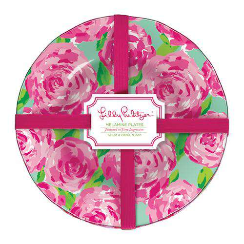 Bar & Glassware - Melamine Plate Set In First Impressions By Lilly Pulitzer