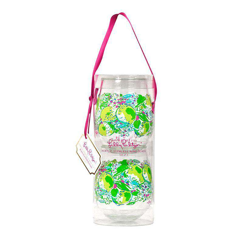 Bar & Glassware - Stemless Acrylic Wine Glasses In Pink Lemonade By Lilly Pulitzer