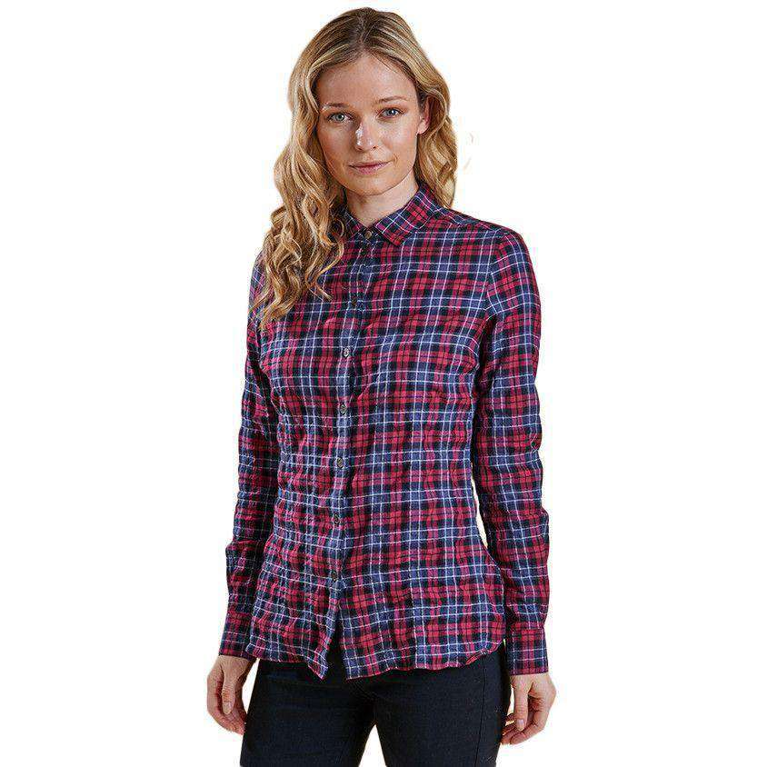Barlett Shirt in Navy and Red Check by Barbour  - 1