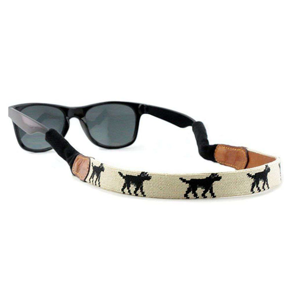 Smathers & Branson Black Lab Needlepoint Sunglass Straps in Light Khaki