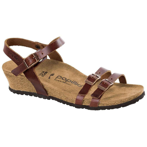 Birkenstock Lana Leather Wedge Sandal in Cognac