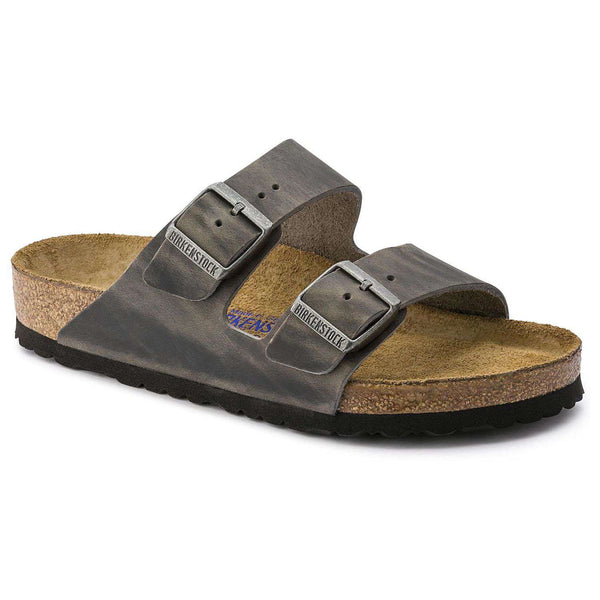 Birkenstock Women's Arizona Sandal in Oiled Iron Leather with Soft Footbed
