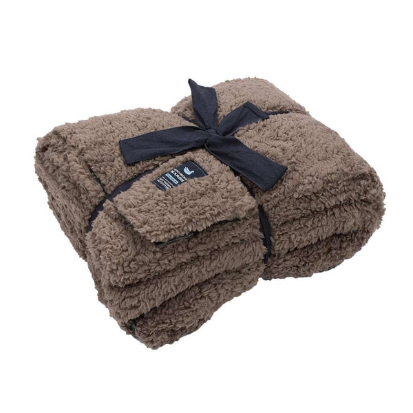 Watson Fluffy Pile & Tartan Blanket in Light Brown by Southern Marsh