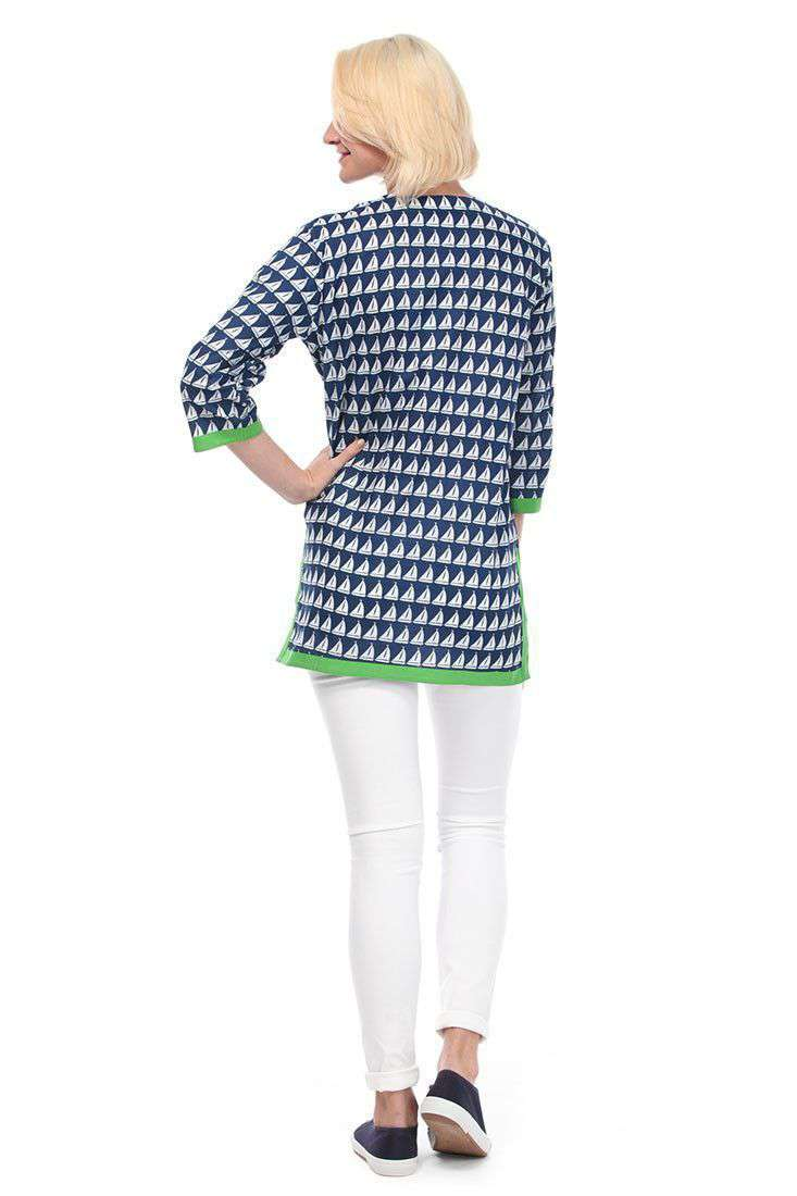 Blouses - Annapolis Cotton Tunic In Navy By Malabar Bay - FINAL SALE
