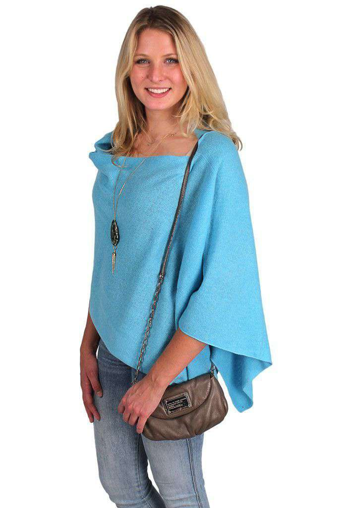 Blouses - Cashmere Dress Topper In Cruise Blue By Alashan Cashmere