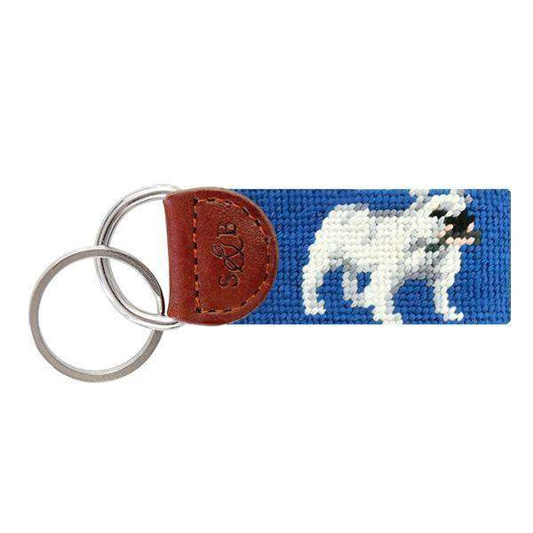 Bulldog Needlepoint Key Fob by Smathers & Branson
