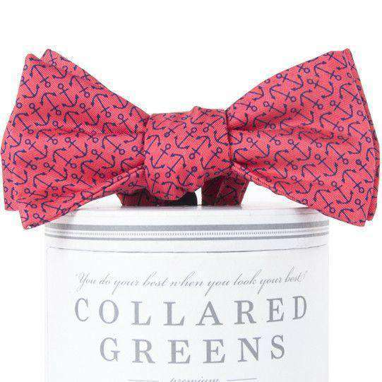 Bow Ties - Ahoy Bow Tie In Salmon Red & Navy By Collared Greens