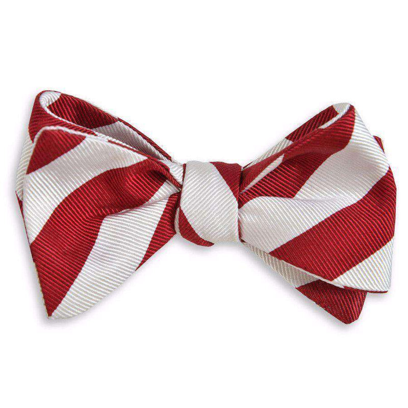 All American Stripe Bow Tie in Cardinal and White by High Cotton