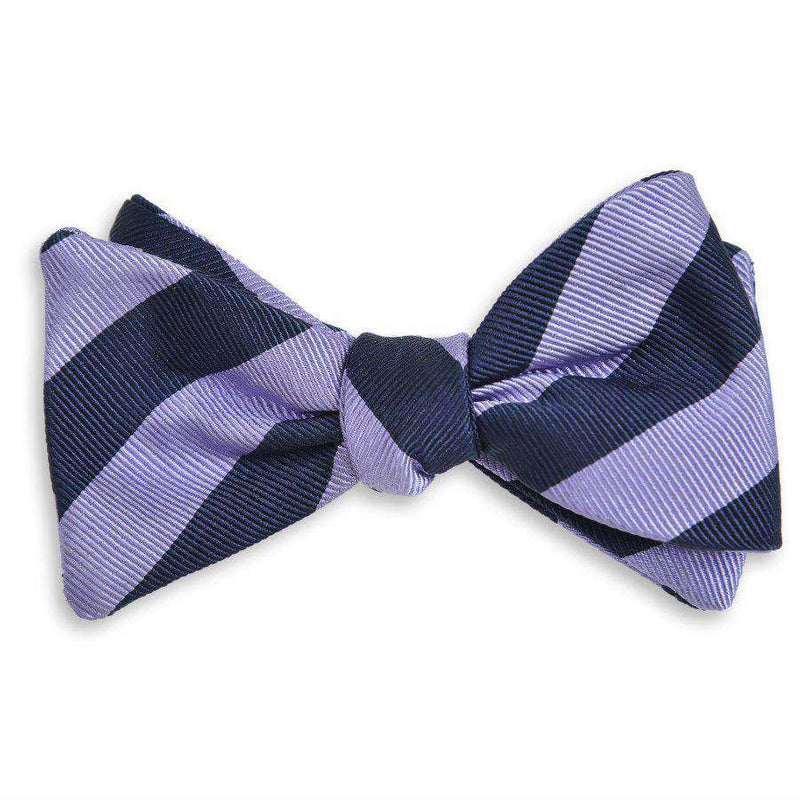 Bow Ties - All American Stripe Bow Tie In Lavender And Navy By High Cotton