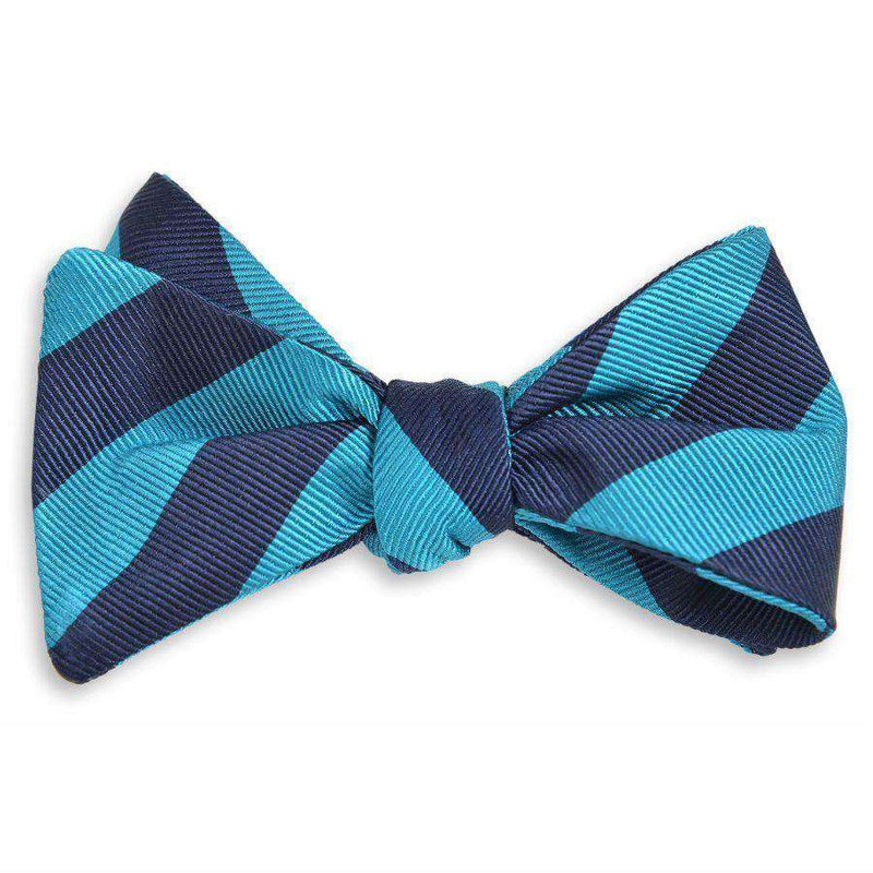 All American Stripe Bow Tie in Teal and Navy by High Cotton