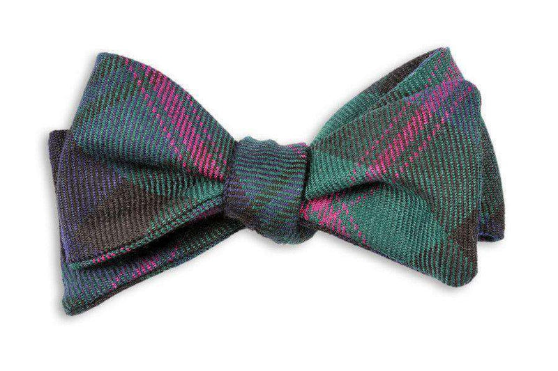 Bow Ties - Baird Wool Tartan Bow Tie In Forest Green & Navy By High Cotton