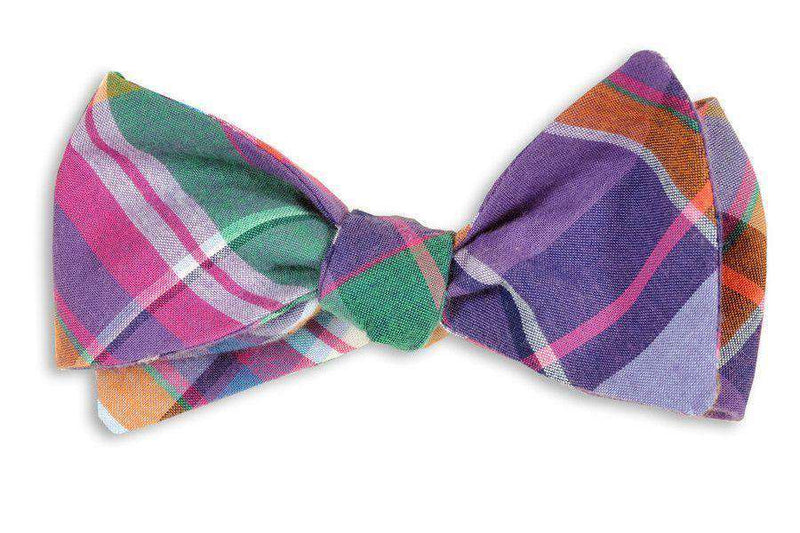 Bow Ties - Baytowne Madras Bow Tie In Purple Madras By High Cotton