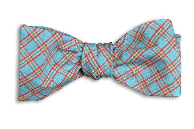 Blue Palmer Plaid Bow Tie in Blue by High Cotton