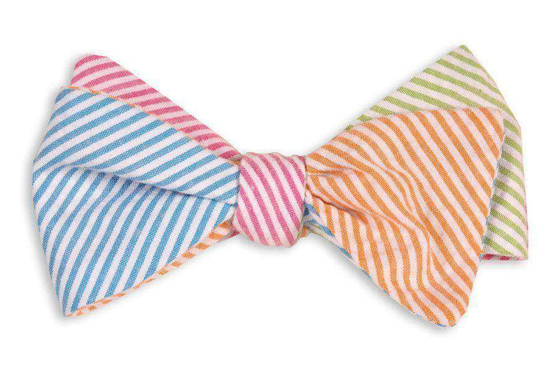 Bow Ties - Boater Seersucker Four Way Bow Tie In Blue, Pink, Green And Orange Seersucker By High Cotton