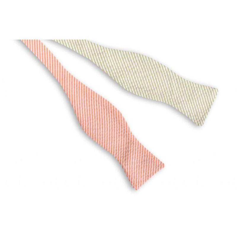 Boater Seersucker Four Way Bow Tie in Blue, Pink, Green and Orange Seersucker by High Cotton