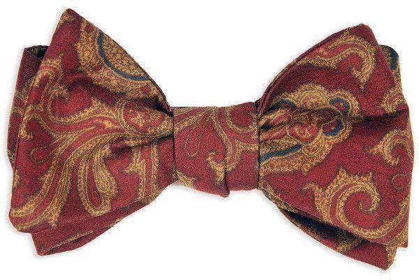 Bow Ties - Brick Heirloom Paisley Bow Tie In Red By High Cotton