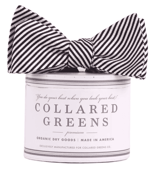 Bow Ties - CG Stripes Bow In Black By Collared Greens