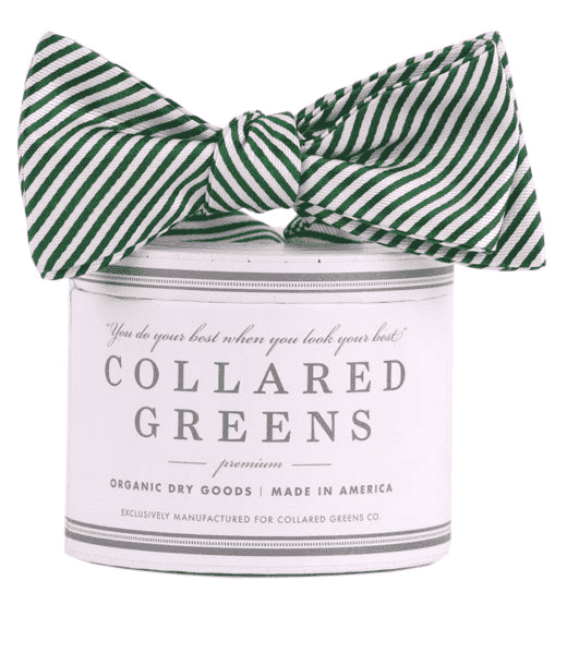 Bow Ties - CG Stripes Bow In Forest Green By Collared Greens