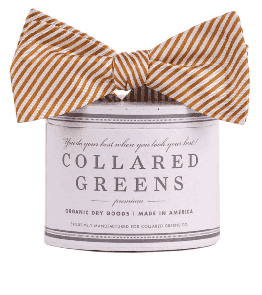 Bow Ties - CG Stripes Bow In Gold By Collared Greens