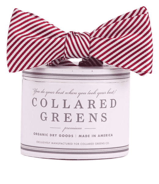 Bow Ties - CG Stripes Bow In Maroon By Collared Greens