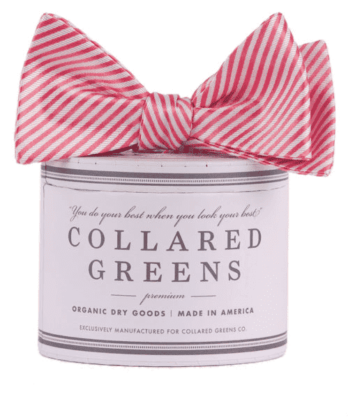 Bow Ties - CG Stripes Bow In Pink By Collared Greens