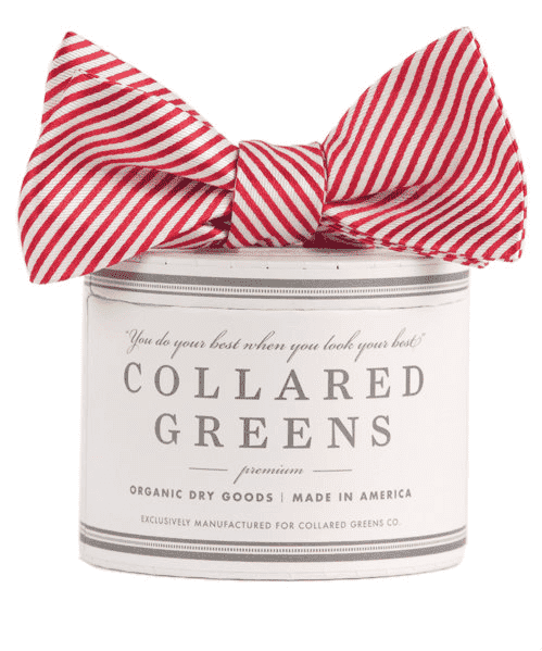 Bow Ties - CG Stripes Bow In Red By Collared Greens