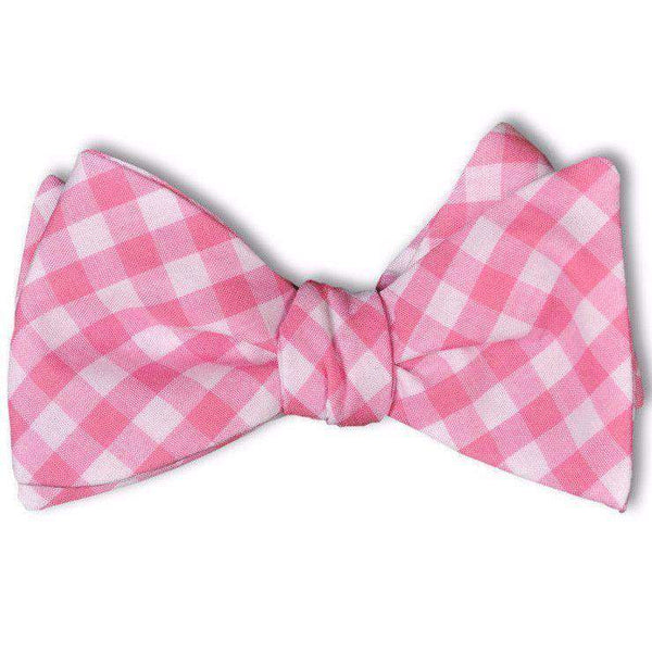 Bow Ties - Check Bow Tie In Deep Pink By High Cotton