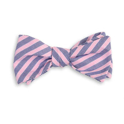 Bow Ties - Clarke Stripe Bow Tie In Pink And Navy By High Cotton