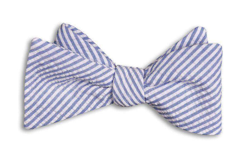 Bow Ties - Classic Blue Seersucker Stripe Bow Tie By High Cotton