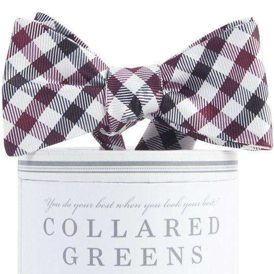 Collegiate Quad Bow Tie in Garnet and Black by Collared Greens