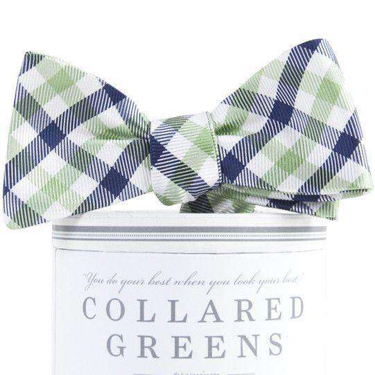 Bow Ties - Collegiate Quad Bow Tie In Navy And Green By Collared Greens