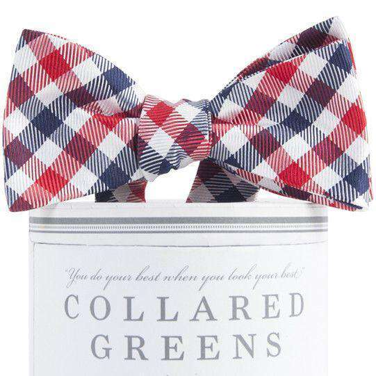 Collegiate Quad Bow Tie in Navy and Red by Collared Greens